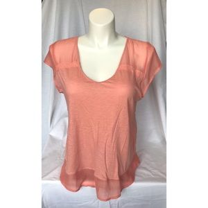 Lucky Brand SS Coral V-Neck Top